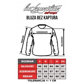 Tabela rozmiarów bluza bez kaptura